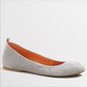J. Crew Anya Silver Grey Suede Leather BalletFlats